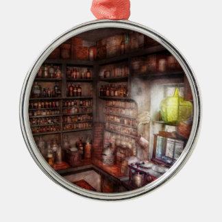Pharmacy - Equipment - Merlin's Study Round Metal Christmas Ornament