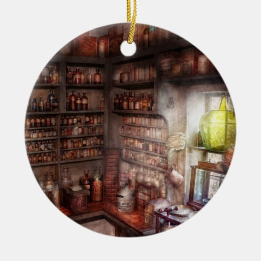 Pharmacy - Equipment - Merlin's Study Double-Sided Ceramic Round Christmas Ornament