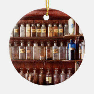 Pharmacy - For Medicinal Use Only  Double-Sided Ceramic Round Christmas Ornament