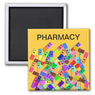 "Pharmacy ""Happy Pills"" Design 2 Inch Square Magnet"