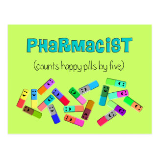 "Pharmacy ""Happy Pills"" Design Postcard"