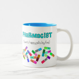 "Pharmacy ""Happy Pills"" Design Two-Tone Coffee Mug"