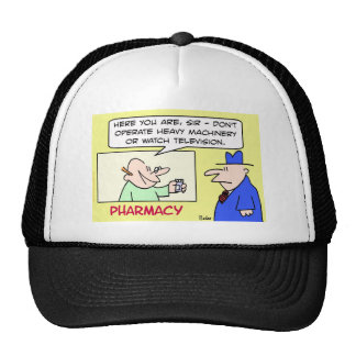 pharmacy heavy machinery watch television trucker hat