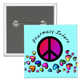 """Pharmacy Intern Gifts """"Peace"""" Design 2 Inch Square Button"""