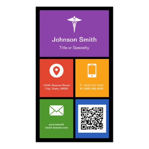 Pharmacy Medical Symbol - Colorful Tiles QR Code Business Cards (back side)