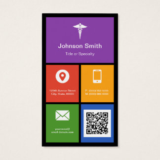 Pharmacy Medical Symbol - Colorful Tiles QR Code Business Card