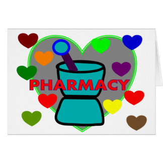 """PHARMACY""  Multi Color Hearts Card"