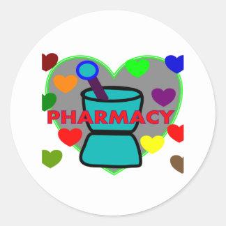 """PHARMACY""  Multi Color Hearts Classic Round Sticker"