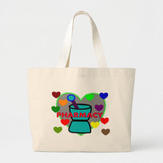 """""""PHARMACY""""  Multi Color Hearts Large Tote Bag"""