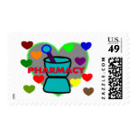 """""""PHARMACY""""  Multi Color Hearts Postage Stamps"""