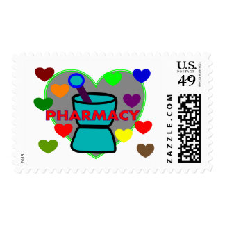 """PHARMACY""  Multi Color Hearts Stamp"