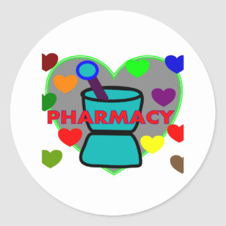 """""""PHARMACY""""  Multi Color Hearts Round Stickers"""