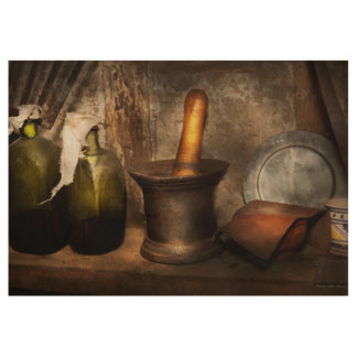 Pharmacy - Pestle - Home remedies Wood Poster