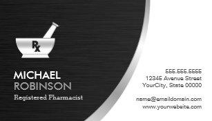 Pharmacy business cards zazzle pharmacy pharmacist logo modern black silver business card colourmoves