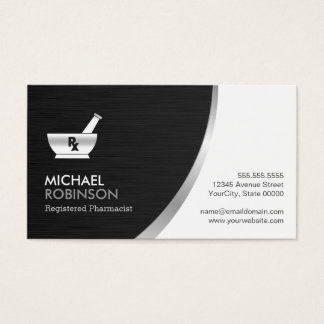 Pharmacy Pharmacist Logo - Modern Black Silver Business Card