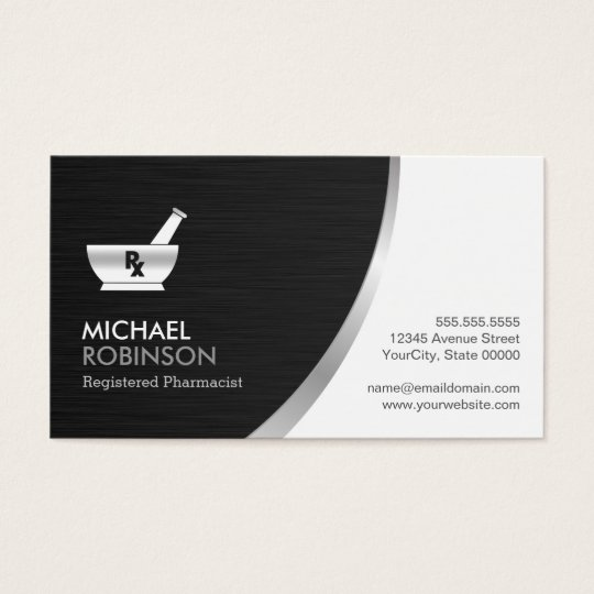 Pharmacy pharmacist logo modern black silver business for Pharmacist business card