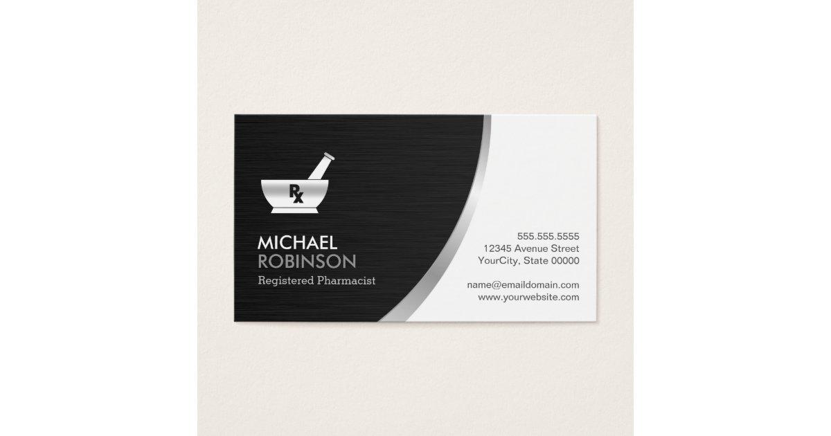 Pharmacy Pharmacist Logo - Modern Black Silver Business Card ...