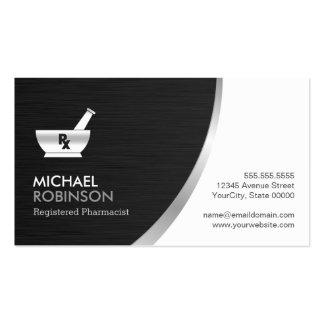 Pharmacy Pharmacist Logo - Modern Black Silver Double-Sided Standard Business Cards (Pack Of 100)