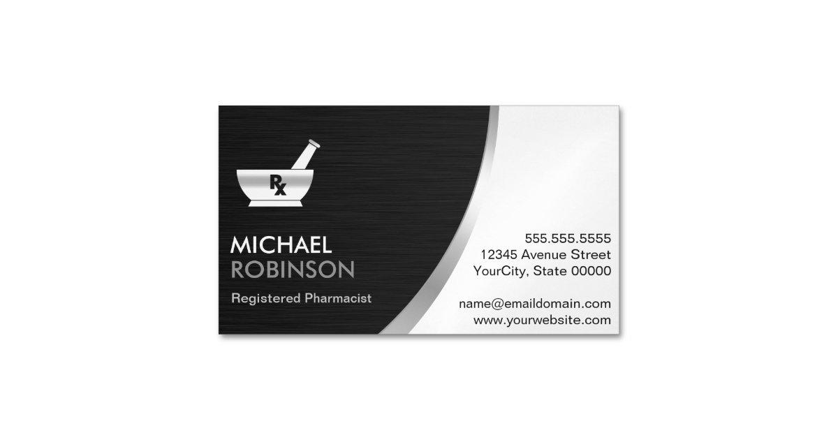 Pharmacy Pharmacist Logo - Modern Black Silver Magnetic Business ...