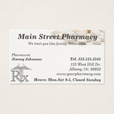Pharmacy Pharmacist Medication List Business Card at Zazzle