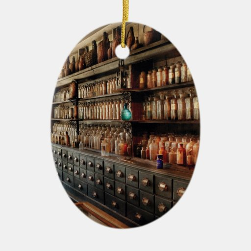 Pharmacy - So many drawers and bottles Double-Sided Oval Ceramic Christmas Ornament