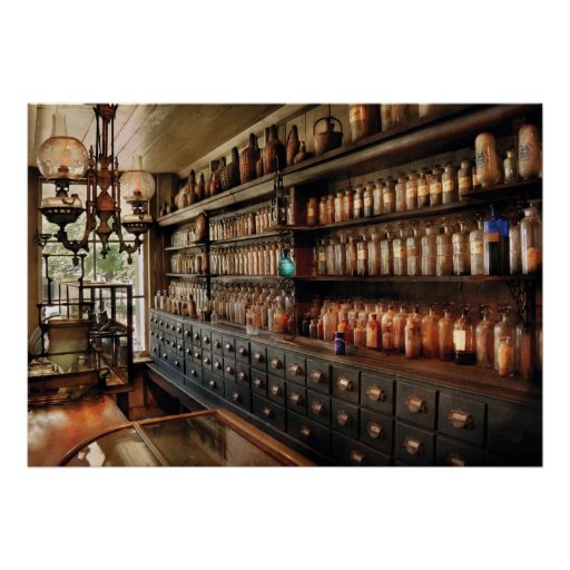 Pharmacy - So many drawers and bottles Posters