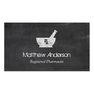 Pharmacy Symbol Mortar and Pestle - Chalkboard Business Cards