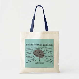 "Pharmacy Tech ""Atlas of Pharmacy Tech Brain"" Tote Bag"