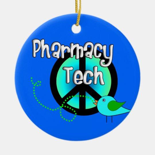 Pharmacy Tech Christmas Ornament Peace Sign