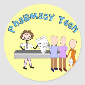 Pharmacy Tech Gifts Stick People Design Classic Round Sticker
