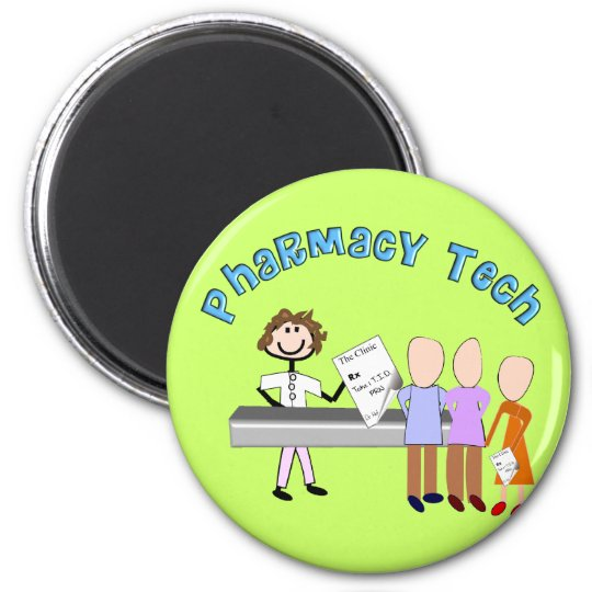 Pharmacy Tech Gifts Stick People Design Magnet