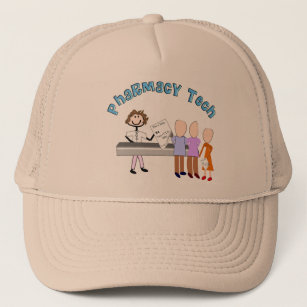 65190ae3bc2cc9 Pharmacy Tech Gifts Stick People Design Trucker Hat