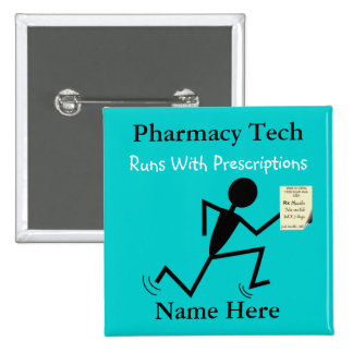 Pharmacy Tech Name Pins Badge Blue