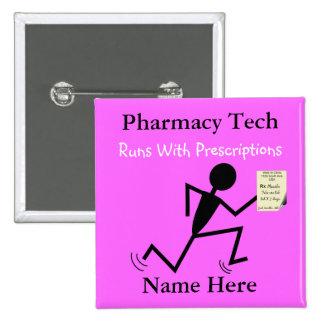 Pharmacy Tech Name Pins Badge Pink