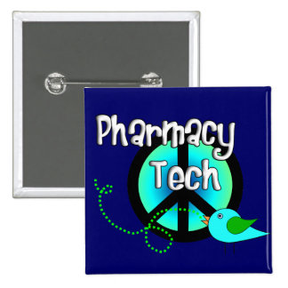 Pharmacy Tech Peace Sign Design Gifts 2 Inch Square Button