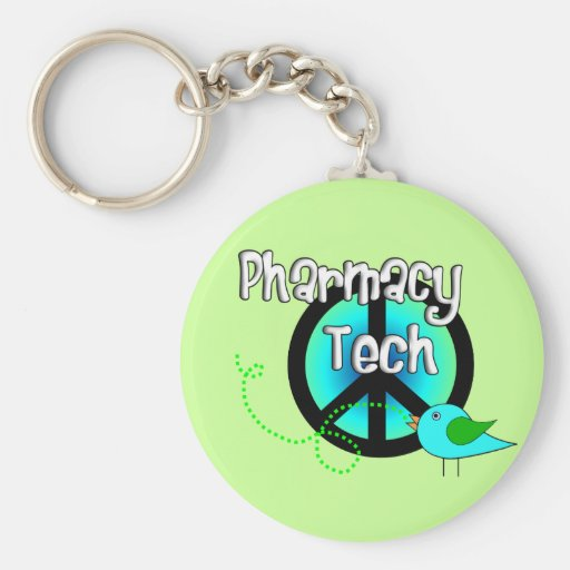 Pharmacy Tech Peace Sign Design Gifts Keychains