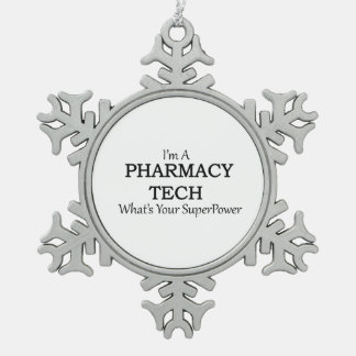 PHARMACY TECH SNOWFLAKE PEWTER CHRISTMAS ORNAMENT