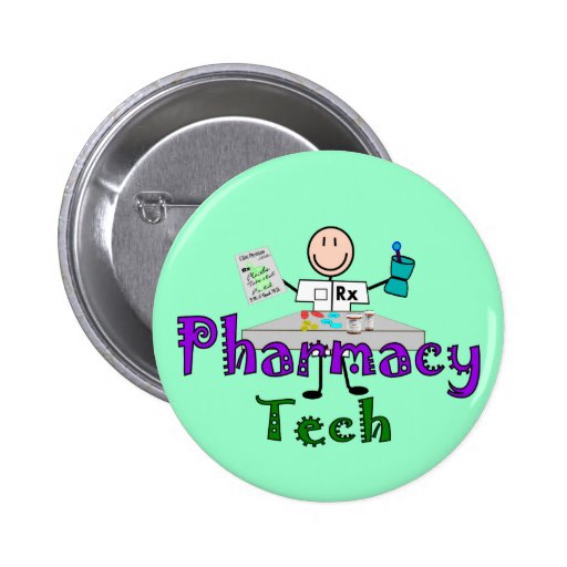 Pharmacy Tech Stick People Design Gifts Pinback Button