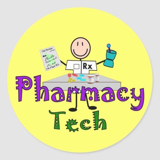 Pharmacy Tech Stick People Design Gifts Classic Round Sticker