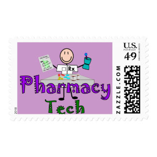 Pharmacy Tech Stick People Design Gifts Postage