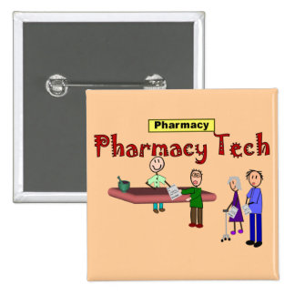 Pharmacy Tech With Customers Design 2 Inch Square Button