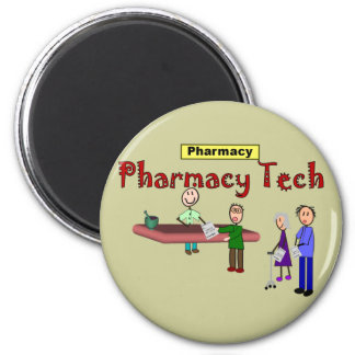 Pharmacy Tech With Customers Design 2 Inch Round Magnet