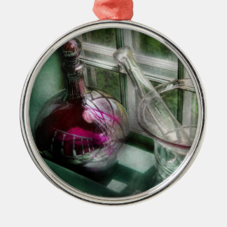 Pharmacy - The apothecary is open Round Metal Christmas Ornament
