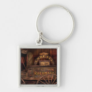 Pharmacy - The Rheumatic Cure wagon Silver-Colored Square Keychain
