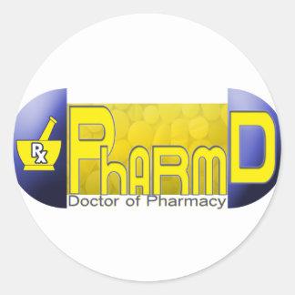 PharmD - doctor de la PÍLDORA de la farmacia Pegatina Redonda