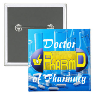 PharmD - doctor de la PÍLDORA de la farmacia Pin Cuadrada 5 Cm