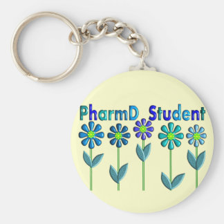 PharmD Student BLUE FLOWERS Key Chains