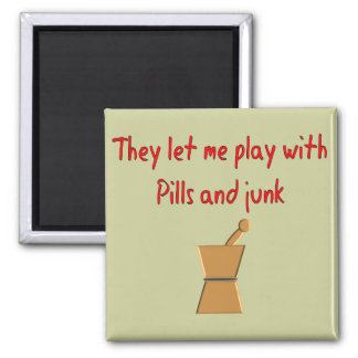 """PharmD Student Gifts --Hilarious """"Play With Pills"""" 2 Inch Square Magnet"""