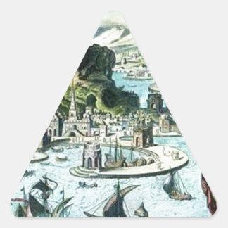 Pharos of Alexandria by Maerten van Heemskerck Triangle Sticker