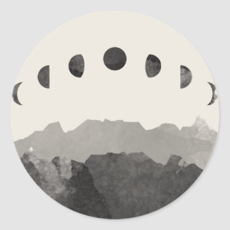 Phases of the Moon Astronomy Space Watercolor Classic Round Sticker
